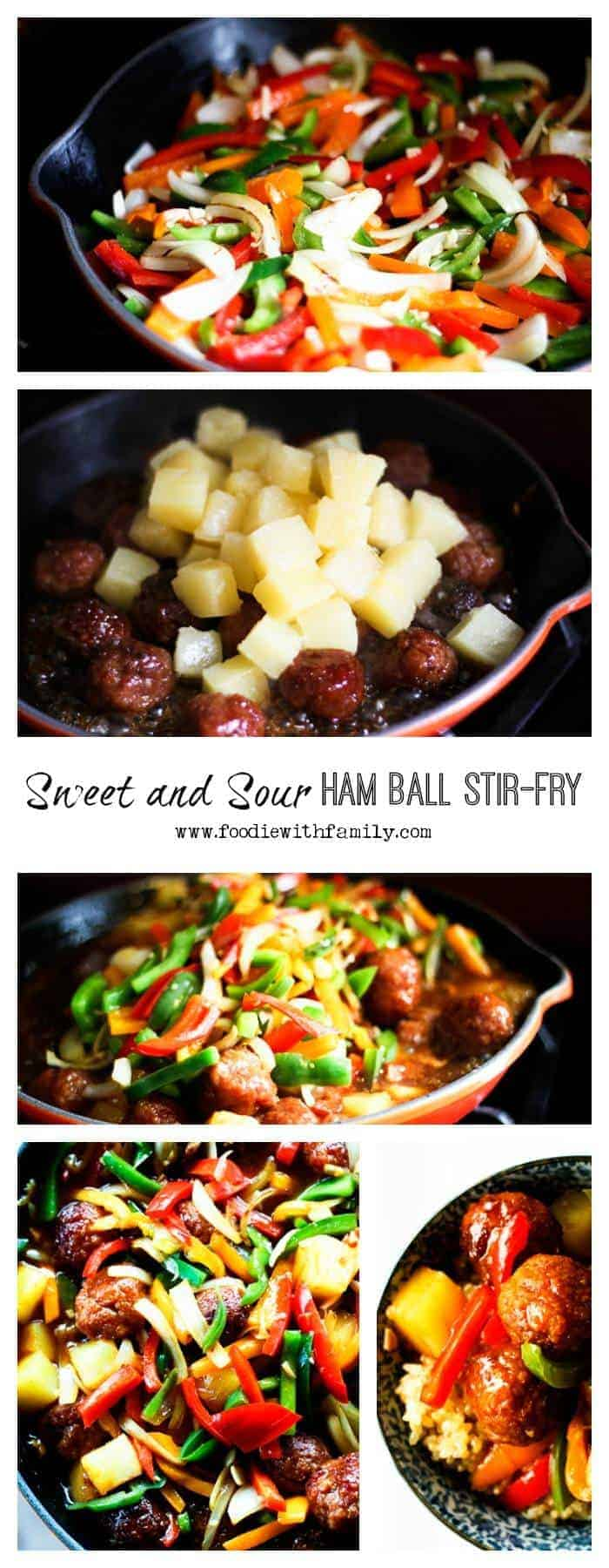 Super fast, delicious, Sweet and Sour Ham Ball Stir Fry from foodiewithfamily.com