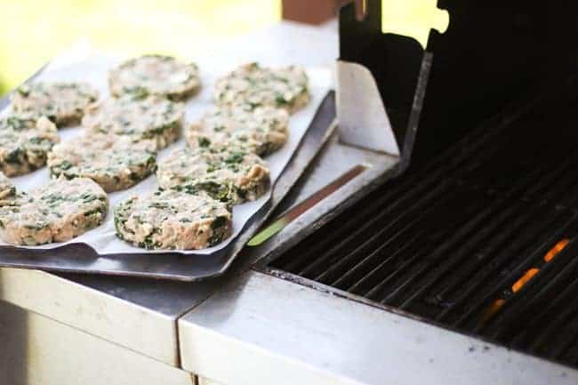 Ready to grill Spinach Feta Turkey Burger | www.foodiewithfamily.com