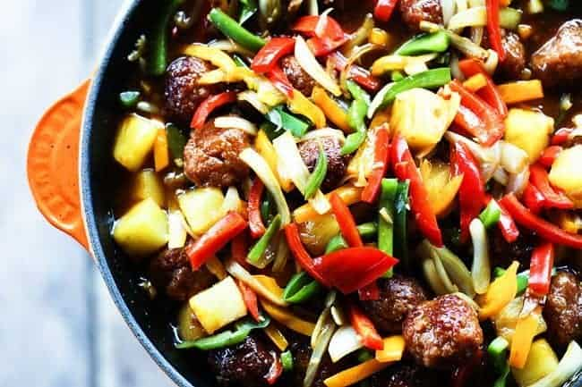 Sweet and Sour Ham Ball Stirfry for Make Ahead Mondays | www.foodiewithfamily.com