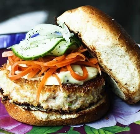 Crunchy, flavourful, Asian Salmon Burgers with a hint of ginger and scallion in them are as easy to make as they are delicious. Topped with a dollop of Wasabi Mayonnaise that can be as mild or as wake-you-up as you wish, and served on a toasted bun or lettuce leaf (for an even more waist-line friendly option) these are a surefire crowd pleaser and a wonderful addition to your Memorial Day fare.