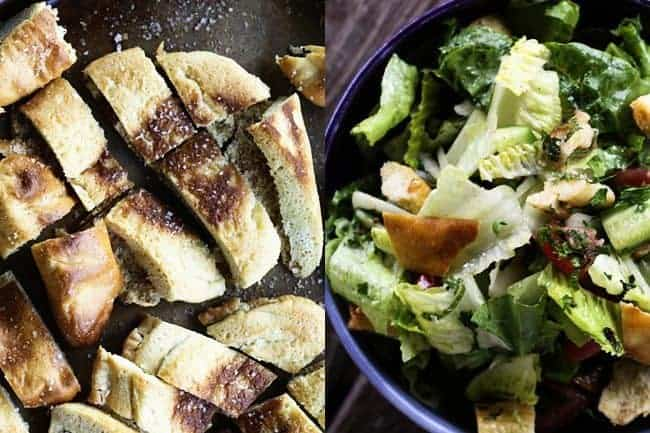 Baked Garlic Pita Chips and Fattoush (Lebanese Crumbled Pita Chip Salad) | www.foodiewithfamily.com