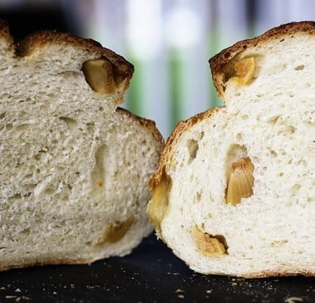 A A sliced Roasted Garlic Rustic Sourdough Boule | www.foodiewithfamily.com
