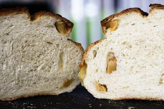 A A sliced Roasted Garlic Rustic Sourdough Boule   www.foodiewithfamily.com