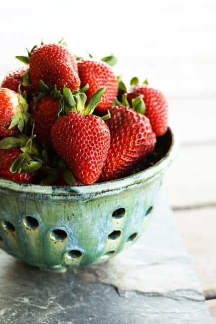 Strawberries for Strawberry Lemonade cupcakes | www.foodiewithfamily.com