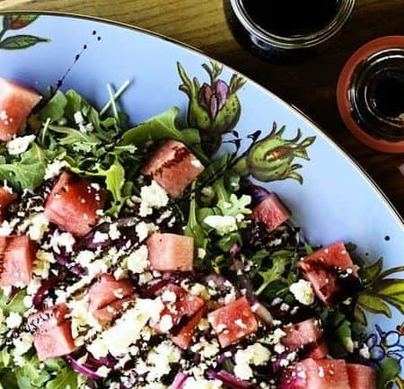 Watermelon, Feta, Pickled Red Onion and Arugula Salad with Balsamic Reduction