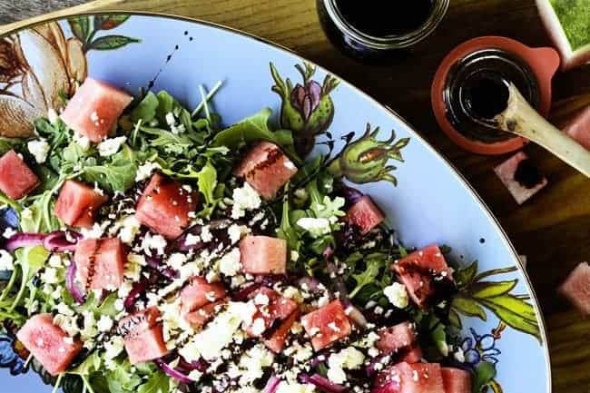 Watermelon, Feta, Arugula Salad with Pickled Red Onions and Balsamic Reduction | www.foodiewithfamily.com
