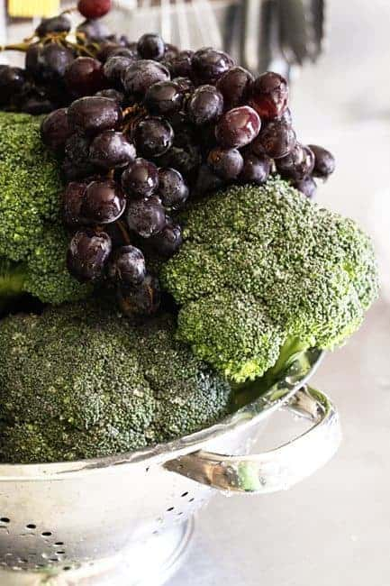 Broccoli and grapes for Marinated Broccoli Salad | www.foodiewithfamily.com