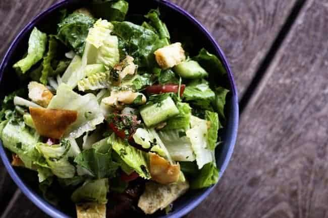 Fattoush (Crumbled Pita Chip Salad) | www.foodiewithfamily.com