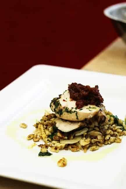 Herbed Chicken on Spaetzle with Tomato Chutney by Chef Jarod Rockwell of Simon Pearce Restaurant | www.foodiewithfamily.com