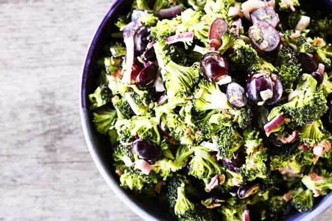 Light Marinated Broccoli Salad with Grapes | www.foodiewithfamily.com