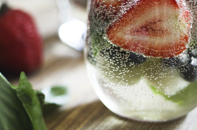 Mixed Berry and Basil Sangria-By-The-Glass (and mocktail variation)