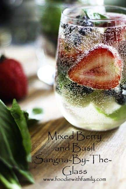 Mixed Berry Sangria by the glass with a Mocktail variation! www.foodiewithfamily.com