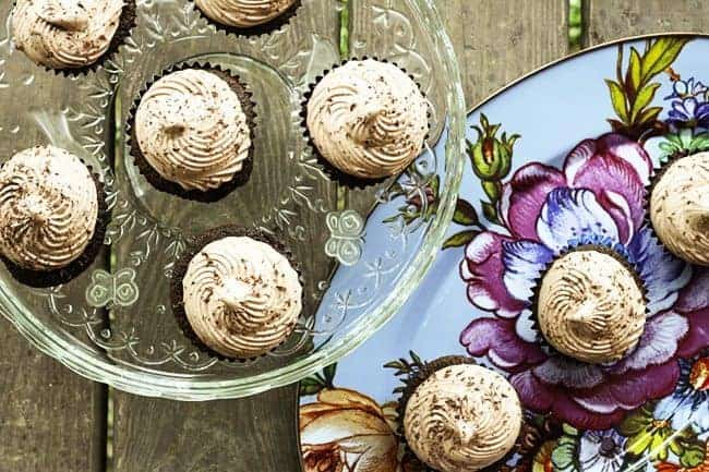 Mocha Cupcakes with Chocolate Italian Meringue Buttercream | www.foodiewithfamily.com