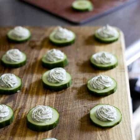 Cucumber Rounds with Herbed Cream Cheese