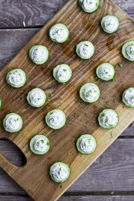 Cucumbers with Herbed Cream Cheese   www.foodiewithfamily.com