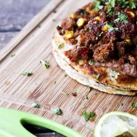 Vegan Double Stack Bean and Meatless Crumble Tostadas | www.foodiewithfamily.com