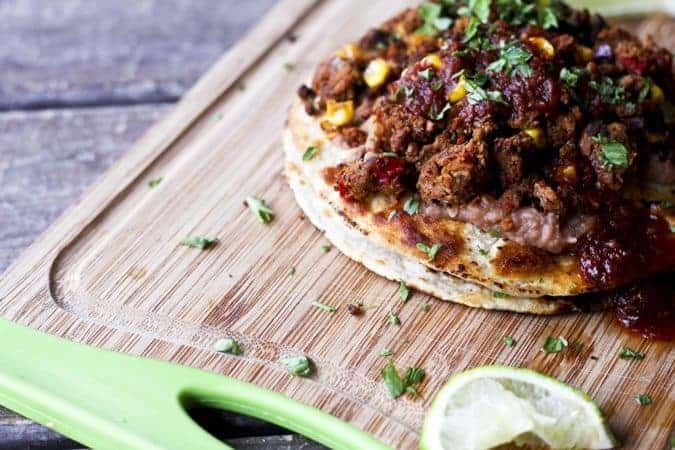 Double Stack Vegan Bean and Mexican Crumbles Tostada and a GIVEAWAY!