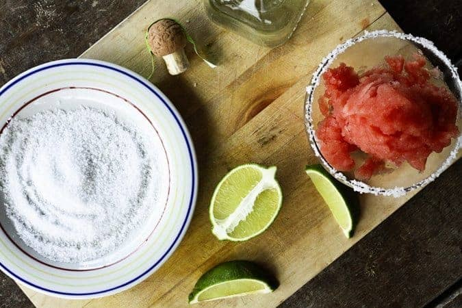 Watermelon Lime Sorbet and Frozen Margaritas | www.foodiewithfamily.com