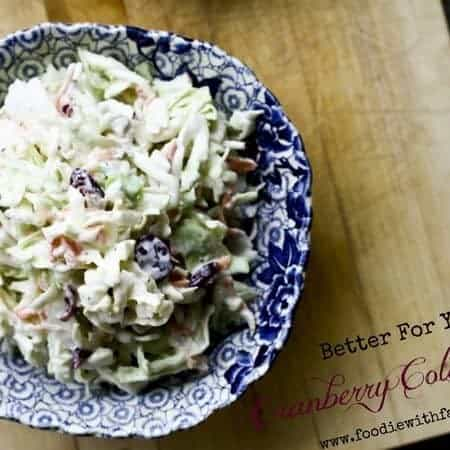 Better For You Cranberry Coleslaw | www.foodiewithfamily.com