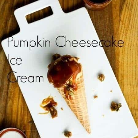 Pumpkin Cheesecake Ice Cream with Salted Caramel and Pepita Brittle | www.foodiewithfamily.com
