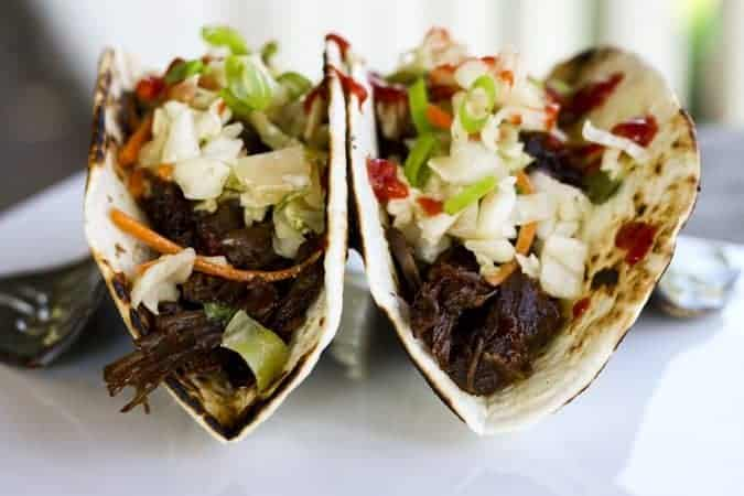 Slow Cooker Korean Beef Tacos for Make Ahead Mondays on www.foodiewithfamily.com