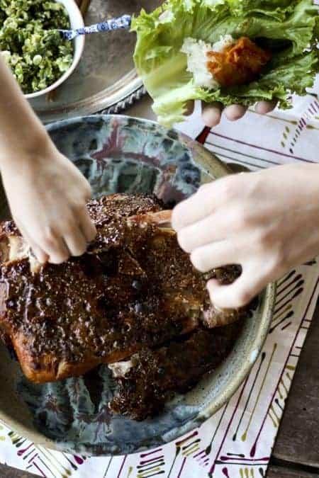 Bo Ssäm -Korean Roast Pork Lettuce Wraps- www.foodiewithfamily.com