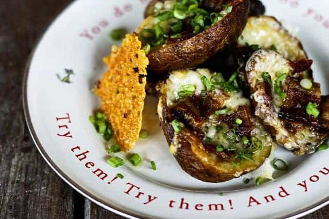 Extreme Bacon Cheddar Potato Skins + how to win a year's supply of bacon www.foodiewithfamily.com