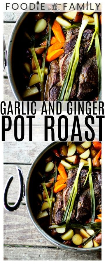 Meltingly tender, slow-braised Garlic and Ginger Pot Roast with lovely mellow carrots, potatoes, and green onions. This is braised in the oven, not a slow-cooker. Sometimes things are worth the effort, this is one of those things!