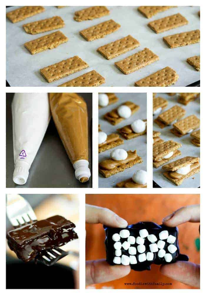 Inside Out Peanut Butter Smores Bars at www.foodiewithfamily.com