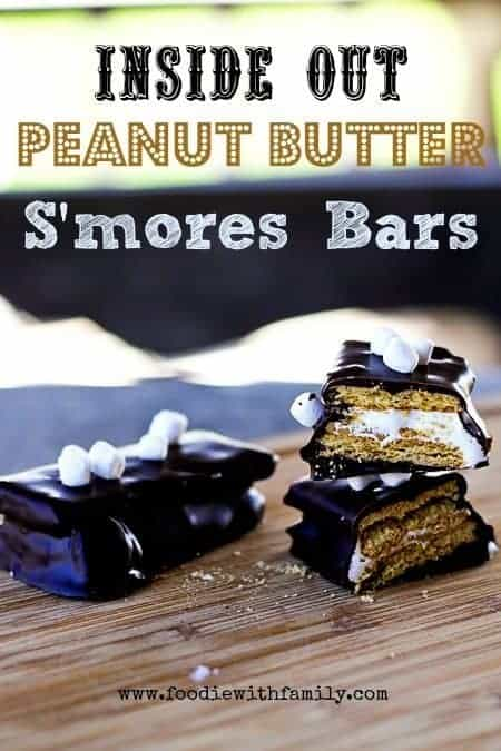 Inside Out Peanut Butter Smores Bars | www.foodiewithfamily.com