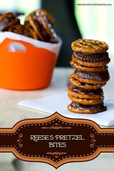 Just 2 ingredients! Reese's Pretzel Bites from www.foodiewithfamily.com