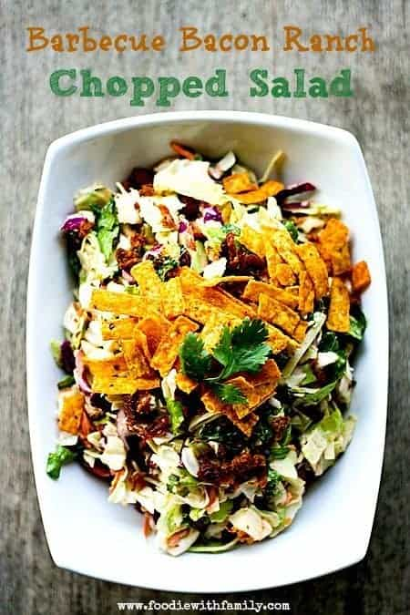 Barbecue Bacon Ranch Chopped Salad  for Make Ahead Mondays at www.foodiewithfamily.com