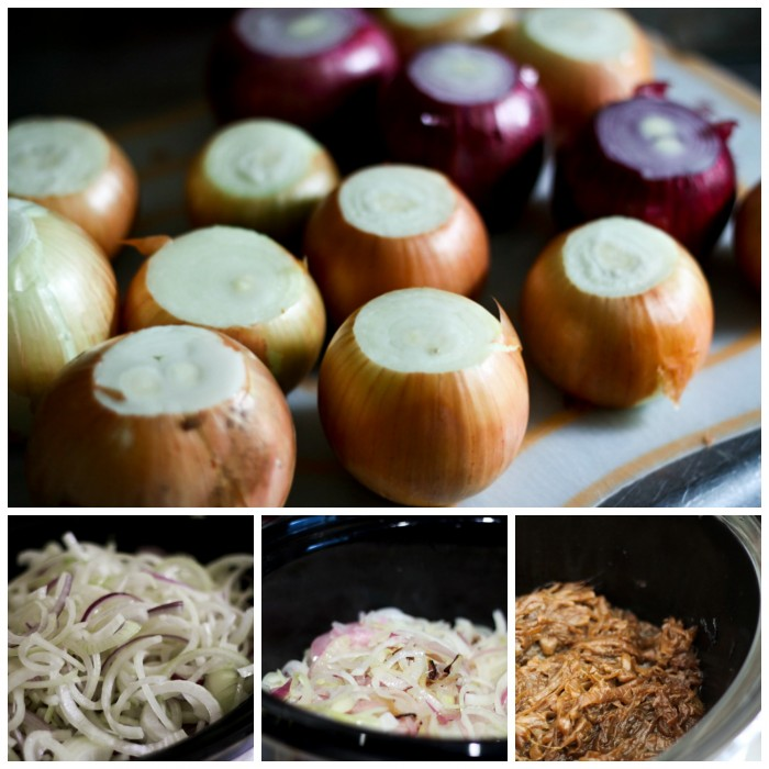 The stages of Slow Cooker Caramelized Onions at www.foodiewithfamily.com Bonus recipe: French Onion Soup