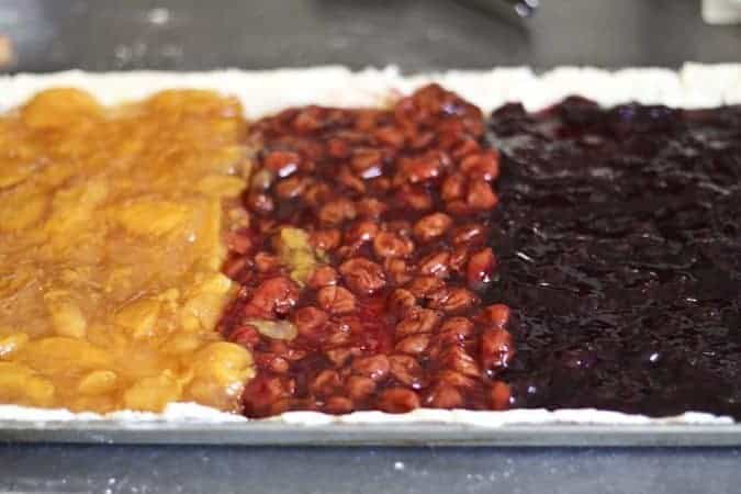 Triple Fruit Slab Pie being made for #pieweek at www.foodiewithfamily.com