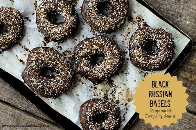 Black Russian Bagels a.k.a. Pumpernickel Everything Bagels at www.foodiewithfamily.com