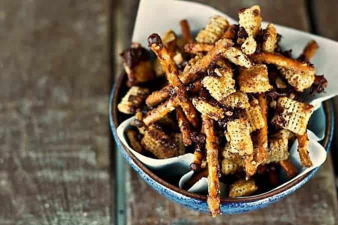 Heath Bar Crunch Chex Mix at www.foodiewithfamily.com