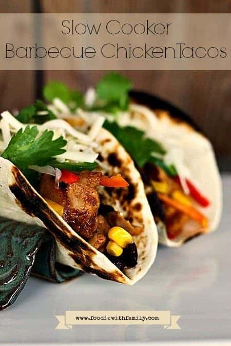 Slow Cooker Barbecue Chicken Taco Filling on www.foodiewithfamily.com