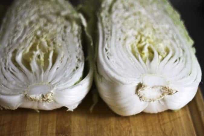 Napa cabbage ready to be prepped for mak kimchi at www.foodiewithfamily.com