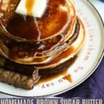Out of maple or pancake syrup? Never fear! Smooth, thick, and rich, this pantry friendly Brown Sugar and Butter Pancake Syrup is simply delicious. It comes together quicker than quick and tastes so good you may find yourself never buying pancake syrup again!