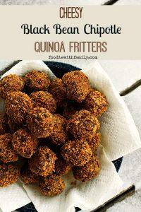 Cheesy Black Bean Chipotle Quinoa Fritters #Superbowlsnacks #Vegetarian