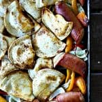 Kielbasa and Pierogie Sheet Pan Meall at www.foodiewithfamily.com