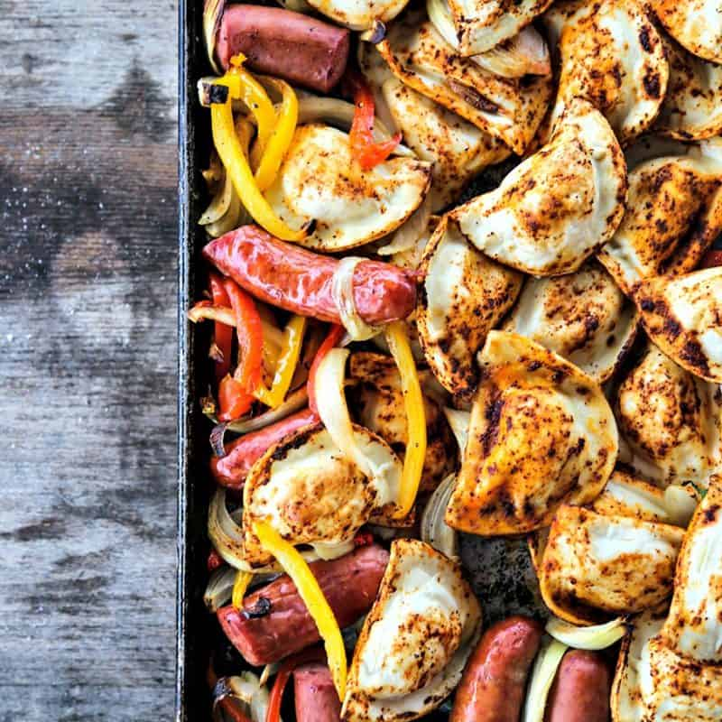 Kielbasa and Pierogies Sheet Pan Meal