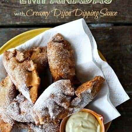 Monte Cristo Empanadas with Creamy Dijon Dipping Sauce #Superbowlsnacks #Superbowl #DudeFoodWeek