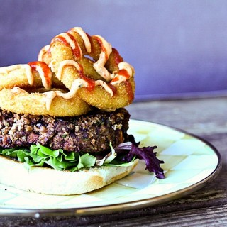 Black Bean burgers vegetarian with roasted sweet potatoes and smoked paprika chipotle sauce