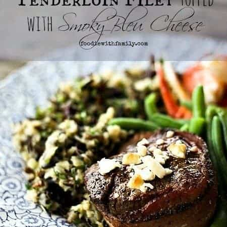Bacon Wrapped Tenderloin Filet topped with Smoky Bleu Cheese