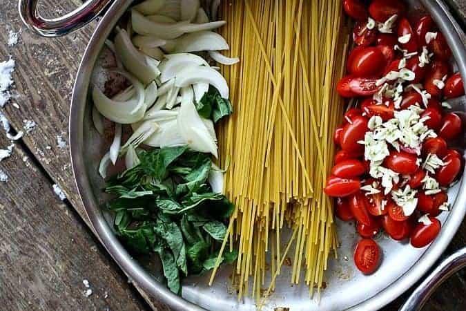 One Pot Lightened Up Chicken Parmesan Pasta #pasta #light foodiewithfamily.com #OnePotMeal