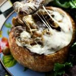 Philly Cheesecake Stew in Sourdough Bread Bowls foodiewithfamily.com #ComfortFood #Stew