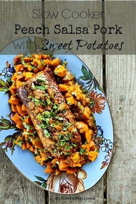 Slow Cooker Peach Salsa Pork Roast with Sweet Potatoes #SlowCooker #Crockpot