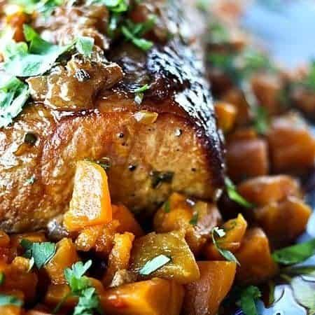 Slow Cooker Peach Salsa Pork with roasted sweet potatoes #SlowCooker #Crockpot
