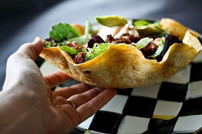 Mega Taco Salad in Cool Ranch Baked Tortilla Bowls foodiewithfamily.com